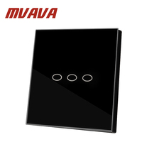 MVAVA 2016 NEW US AU Standard Wall Touch Switch Black Pearl Crsytal Glass Panel 3Gangs 2Way