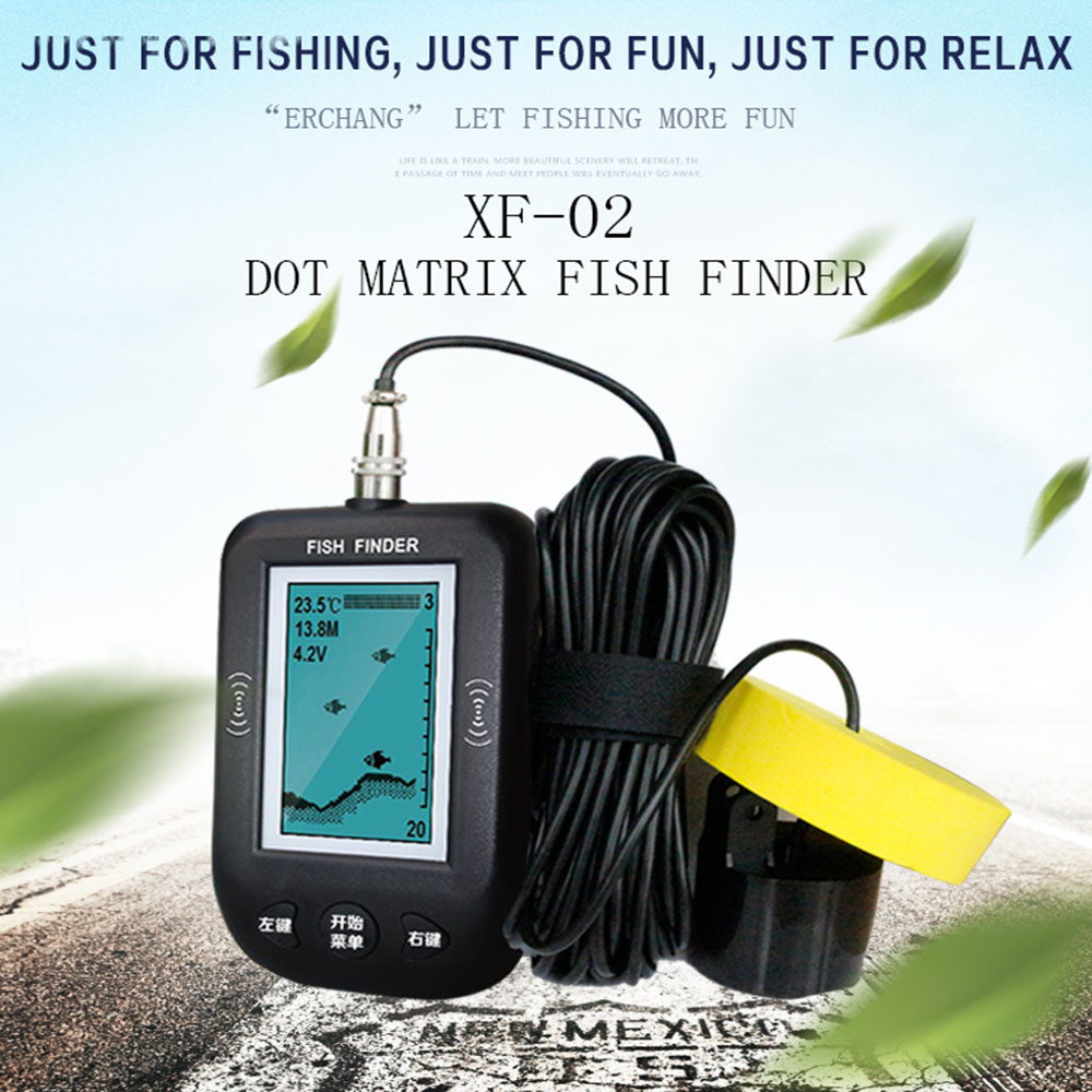 Portable English Wired Fish Finder Echo Sounder for Fishing Alarm Electronic XF-02 sonda de pesca Boat Sonar Box Pesca Tool lucky fish finders alarm 100m portable sonar wired lcd fish depth finder echo sounder electronic fishing tackle ffc1108 1 b5