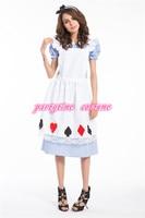 זרוק משלוח אליס בארץ הפלאות אגדה קלאסי ארוך dress נשים תלבושות בתוספת גודל s m xl 2xl 3xl 4xl