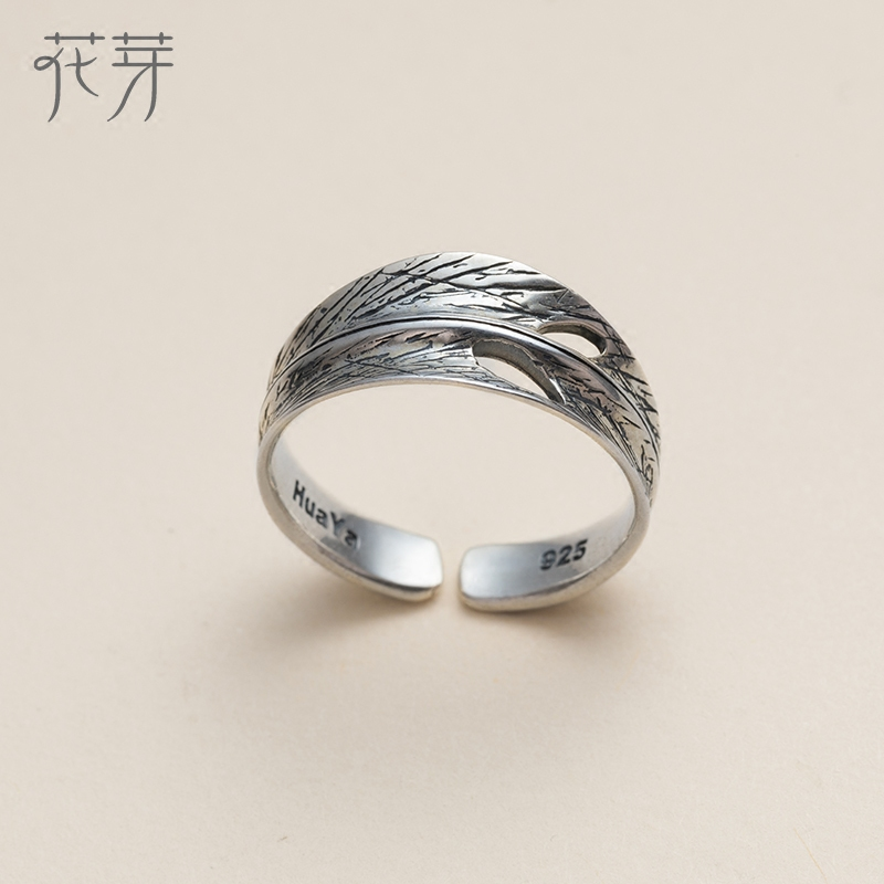 681adab6b7e75 Thaya New Green childhood design s925 silver ring crystal Green plum Bamboo  pattern finger ring Retro jewelry for women gift