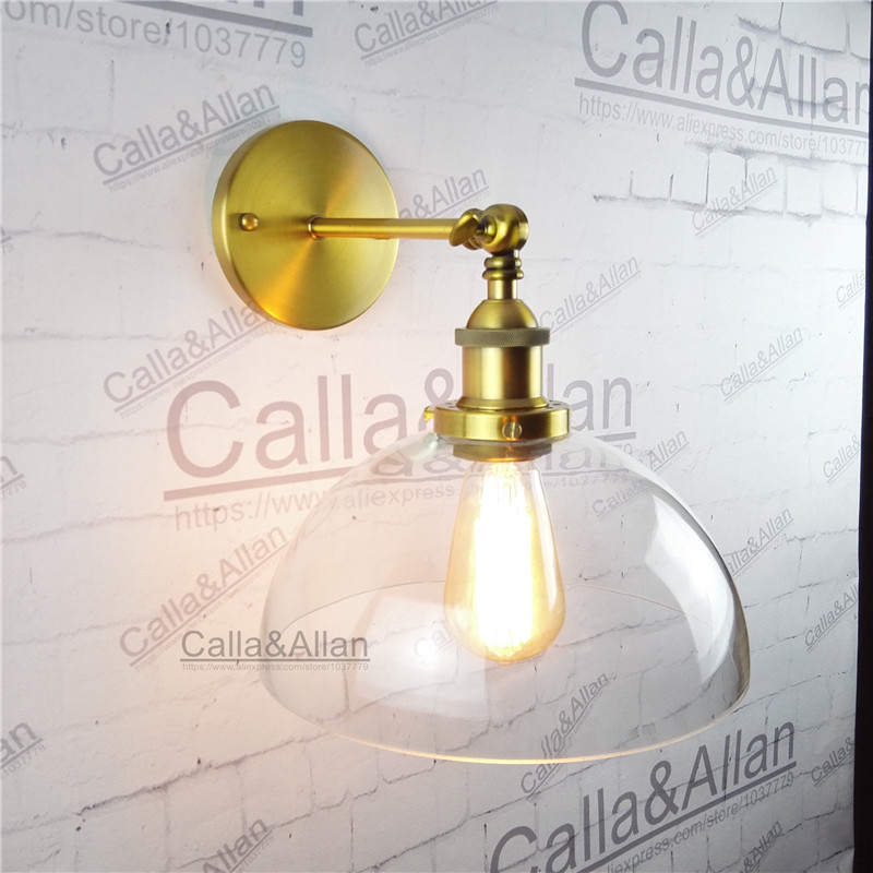 Free shipping half globe clear glass shade antique wall light sconce E27 AC110V/220V edison antique brass wall light up down n light 407 06 53abw antique brass walnut