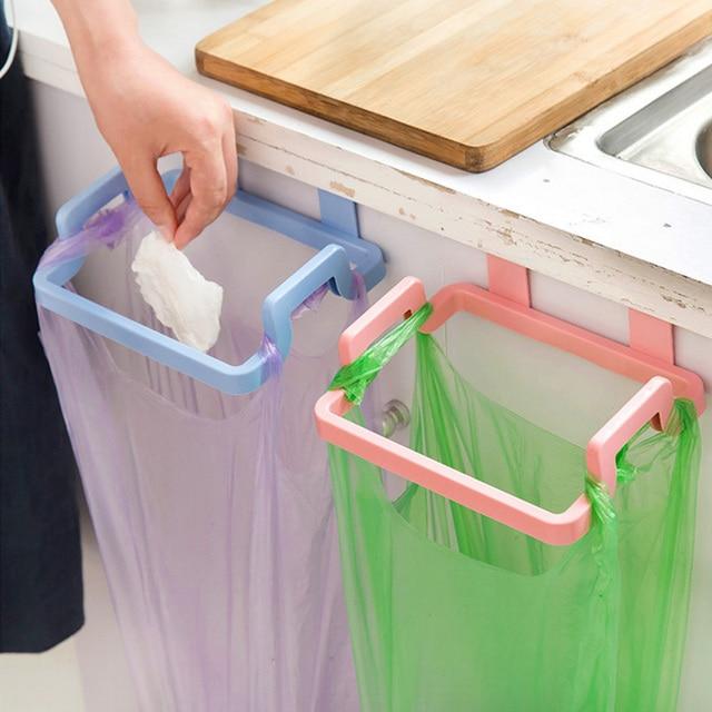 New Kitchen Organizer Plastic Trash Bag Holder Bathroom Towel Rack Save  Space Kitchen Accessories Garbage Bag
