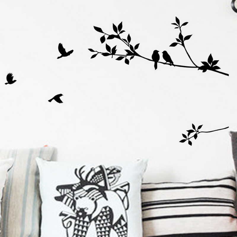 Black bird tree branch wall sticker quote decal removable art home mural decor decoration flying birds decals  cm in stickers from also rh aliexpress