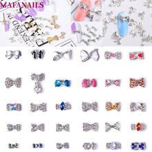 Novo! 10 pçs/lote laço laço liga arco nó encantos jóias arte do prego cristal strass para unhas decorações acessórios (JE114-143)