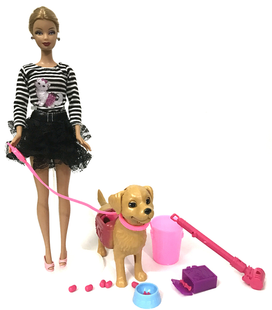 barbie doll with dog