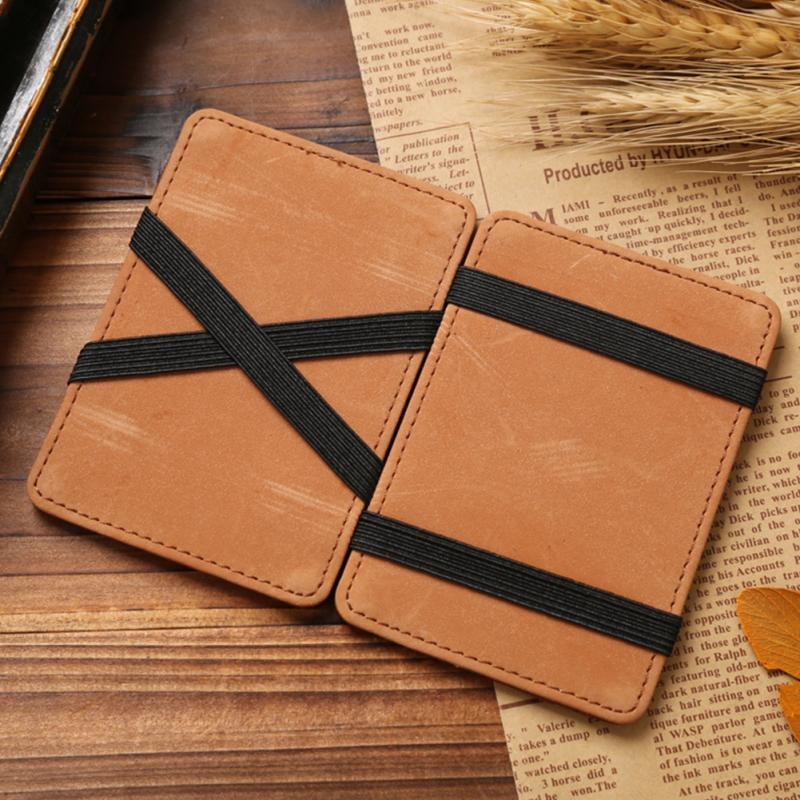 US $4 36 |Men Magic Money Clip Leather ID Case Coin Bag Slim Vintage Credit  Card Wallet-in Wallets from Luggage & Bags on Aliexpress com | Alibaba