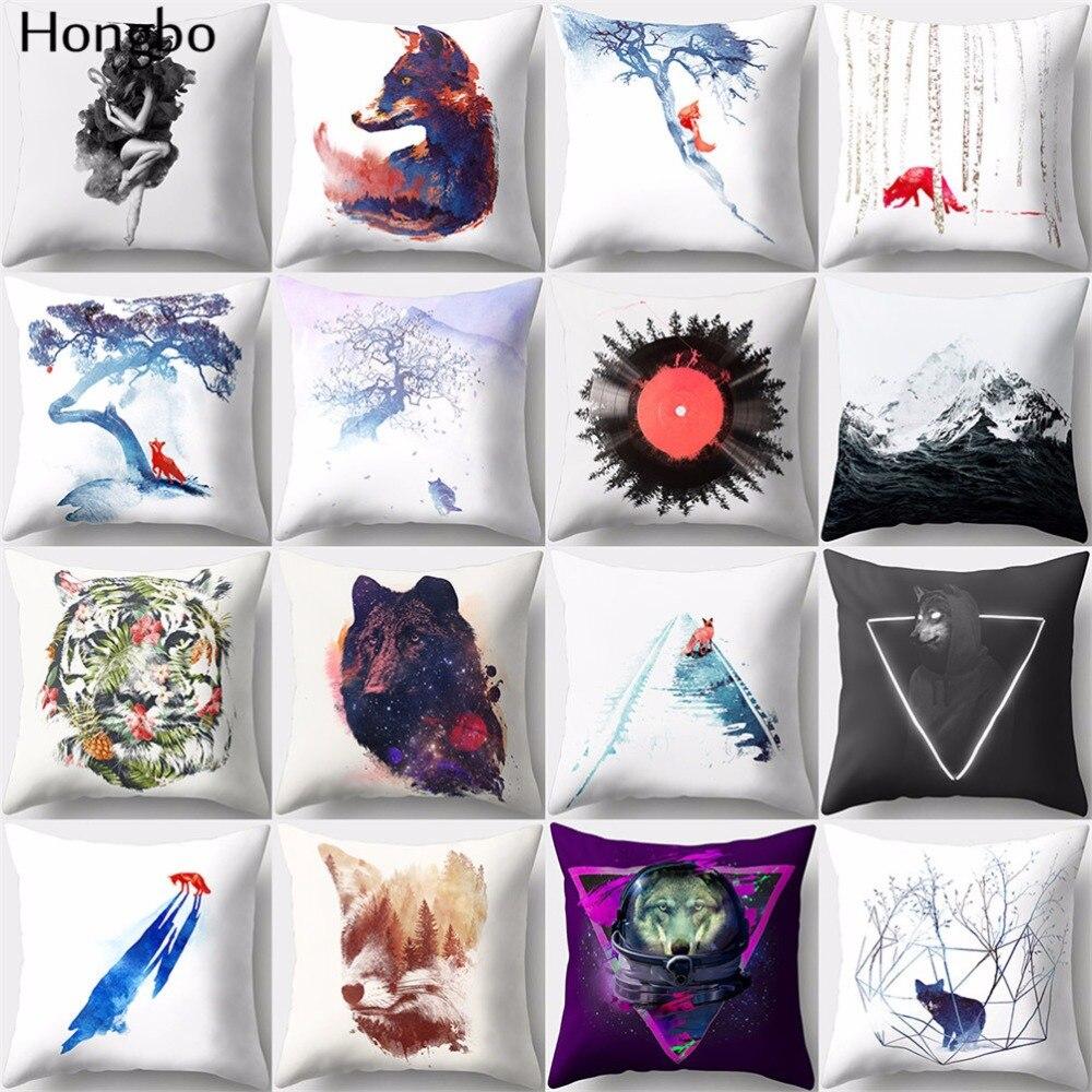 Hongbo 1 Pcs Cartoon Wolf Tiger Fox Pillow Case Cushion Cover Polyester Peach Skin For Car Sofa Home Decor