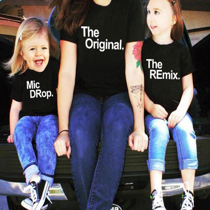 Pkorli Семейные комплекты футболка оригинальный Encore ремикс MIC Drop с принтом букв мать Младенцы Обувь для мальчиков Обувь для девочек одежда