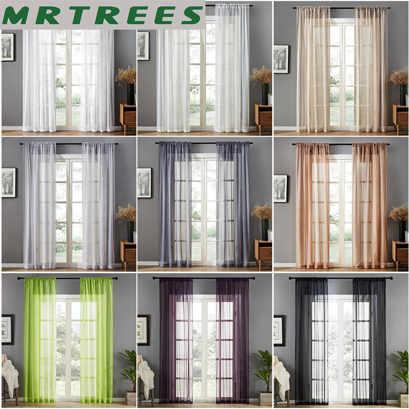 Solid Modern Tulle Curtains For Living Room The Bedroom For The Kitchen Sheer Curtains Drapes Curtain On The Window For Salon