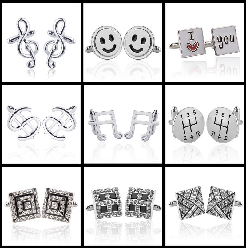 Hot Sale 18 Style Trendy Men Women Cufflinks Fashion Musical Instrument & Square Crystal Cufflinks Wedding Jewelry High Quality pair of stylish solid color musical note shape alloy cufflinks for men