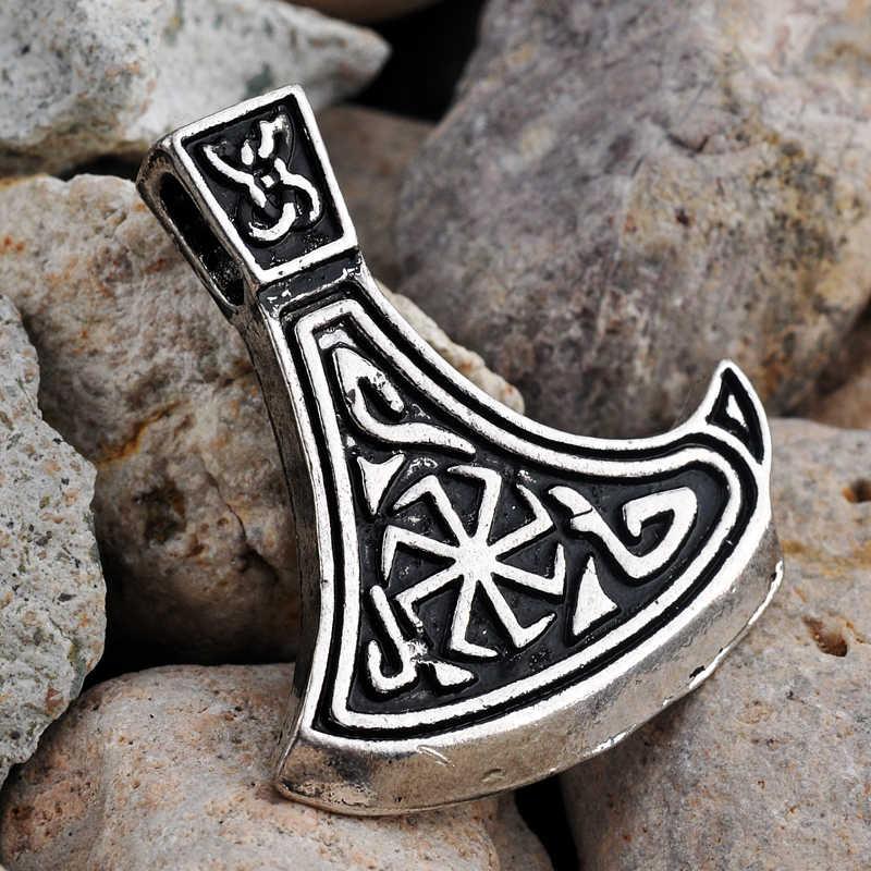 Винтажный браслет с металлической вставкой талисман подвеска малая боевой топор Шарм счастливый амулет кулон античное серебро