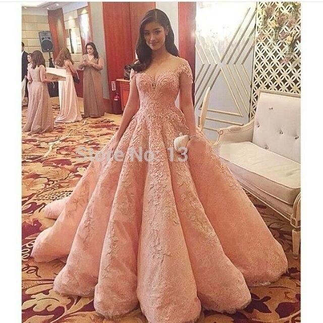 90626e5ed8fa Arabic Designer Party Formal Dress Robe De Soiree Pink Lace Short ...