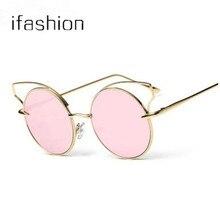 2016 Brand Fashion Metal Cat Eye Sunglasses New Women men Designer UV400 Mirror Round Lens Sun Glasses Ladies Oculo Masculino