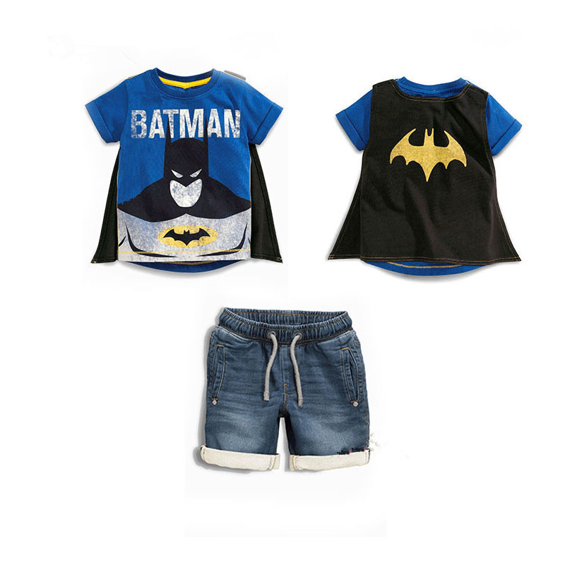 Summer Brand Clothes For Boys Batman Superman Shirt And Short Jeans Toddler Boy Shorts Sets Streetwear Kids Outfits Boys Suits