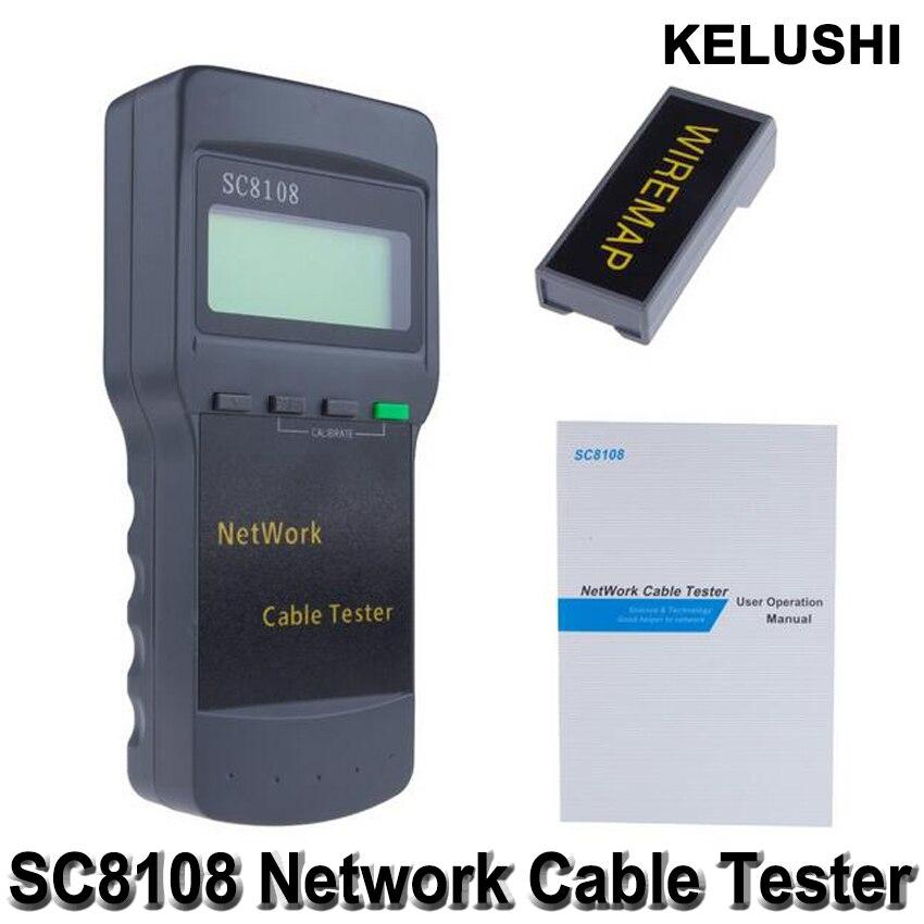 KELUSHI Portable Multifunction Wireless Sc8108 LCD Digital PC Data CAT5 RJ45 LAN Phone Meter Length Network Cable Tester Meter