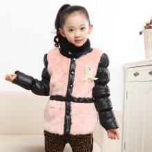 Free shipping Winter girl fashion coat imitation fur leather jacket to collect waist round collar