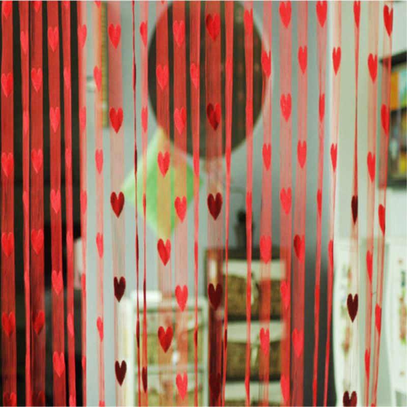 100*200 cm Romantische Pfirsich Herz Linie Vorhang Hochzeit/Liebe Vorhänge Wohnzimmer Partition Dekorative Vorhang Hängen P0.2
