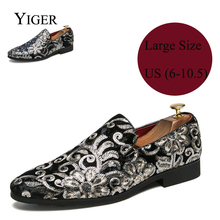 YIGER New Men Loafers Driving shoes Man Slip-on Casual Large Size Business Shoes Black/Blue 0090
