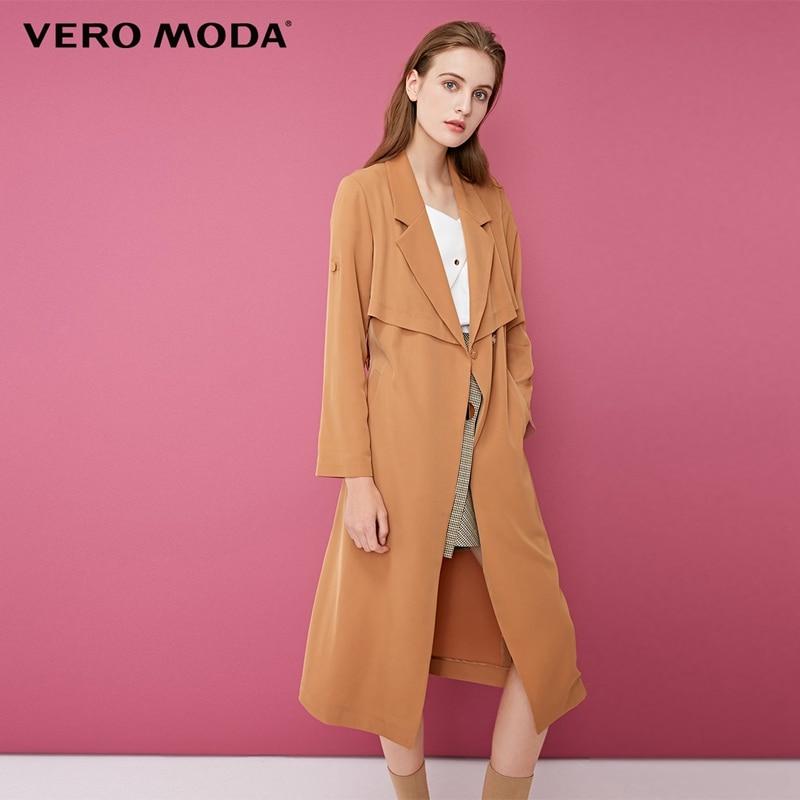 Vero Moda Back Cover Lapel Long Pure   Trench   Coat | 318321541