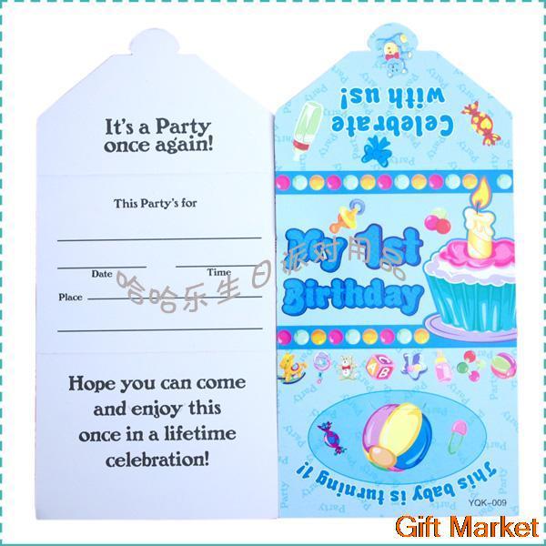 Pcslot Happy Birthday Decoration Cartoon Invitation Card Blue - Birthday invitation cards 10 years