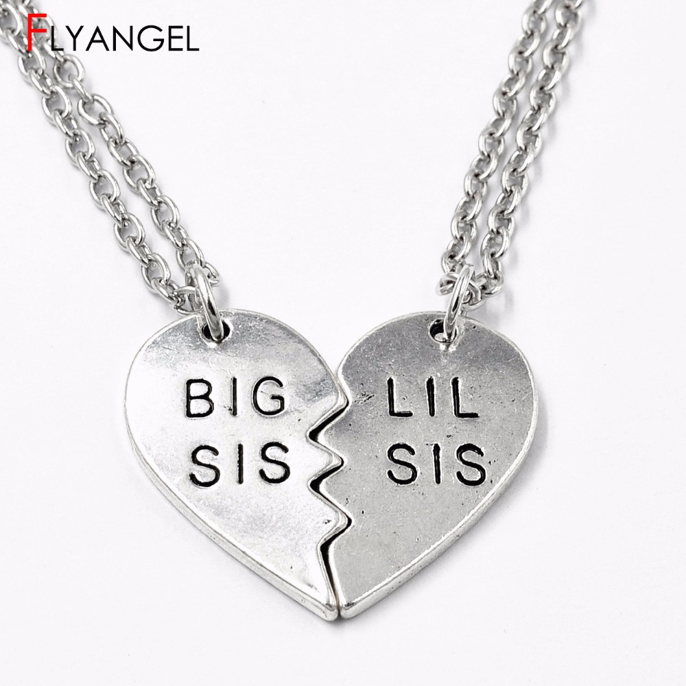 1 Pair Fashion Fitness Big Sis Lil Sis Broken Heart Good friends Sisters Friendship Pendant Necklace Gift Bodybuilding Jewelry