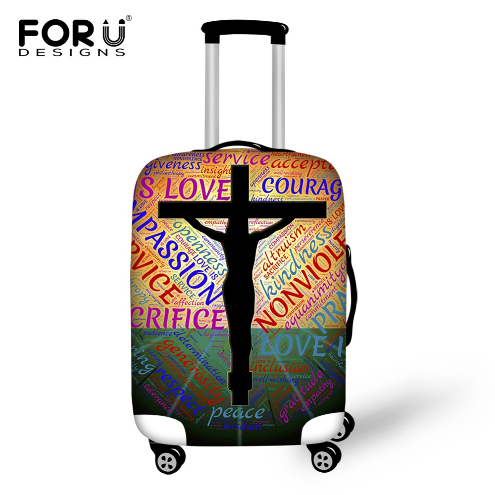 FORUDESIGNS Unique 3D Cross Design Travel Suitcase Cover Elastic Dustproof Rain Cover For 18/20/22/24/26/28/30 Inch Trunk Case