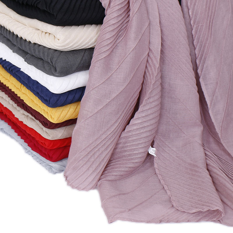 Women Pleated Wrinkle Crinkle Cotton Scarf Plain Classic Shawls Scarves Wraps Wrinkle Muslim Hijab Headscarf 180x80cm 12 Colors