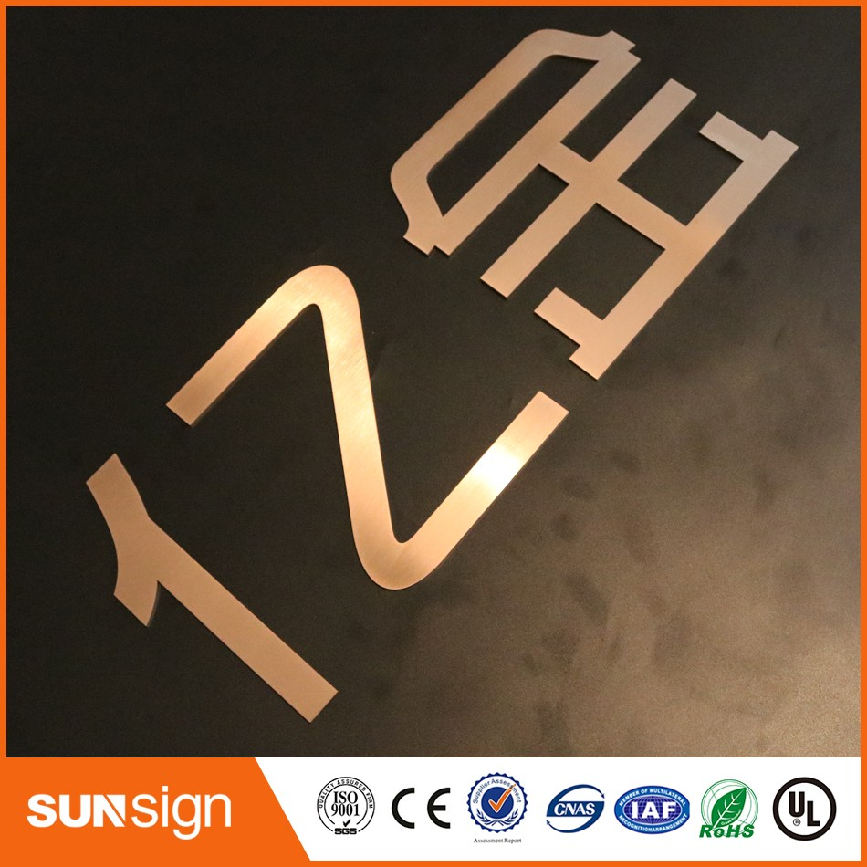 Rose Gold Metal Signs Matt Polished Stainless Steel Alphabet Letters Signage