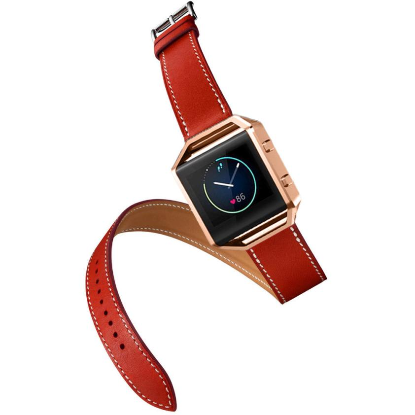 Superior Long Leather Double Ring Watch band Wrist strap For Fitbit Blaze Smart Watch July 20
