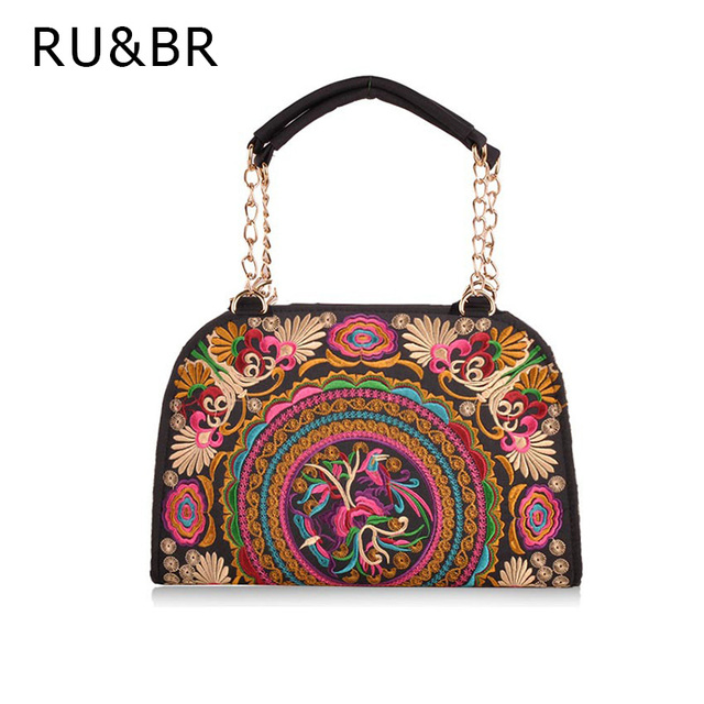 RU&BR Fashion Retro Handbags Flower Embroidered Bags Women Chain Bags National Wind Casual Canvas Women Shoulder Bolsa Feminina