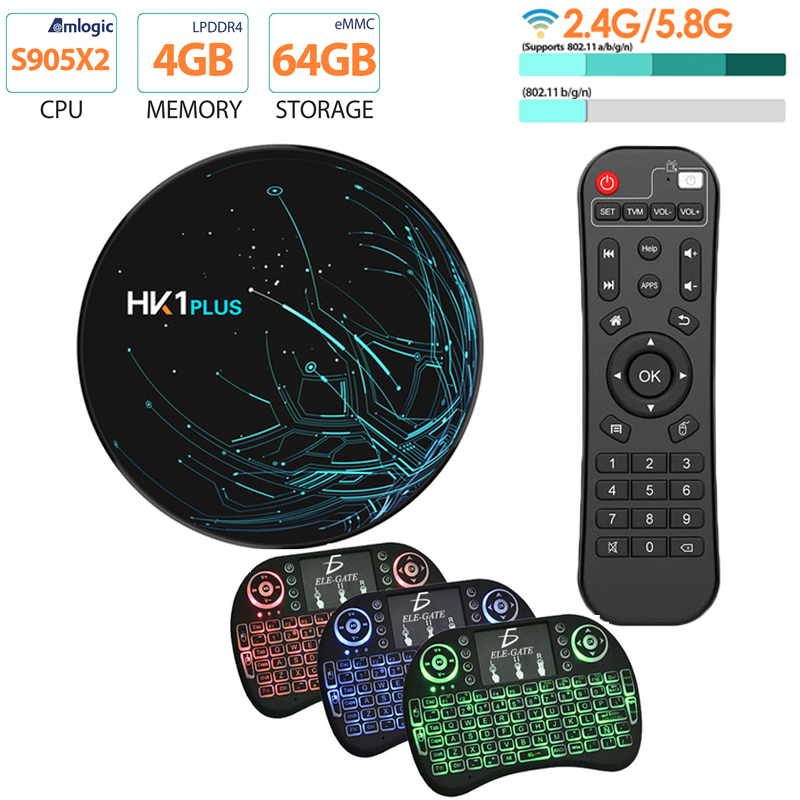 HK1 PLUS Smart TV BOX 4GB 64GB Android 9.0 Amlogic S905X2 Quad Core Dual Wifi Bluetooth 4,0 USB3.0 4K Youtube Google-Player
