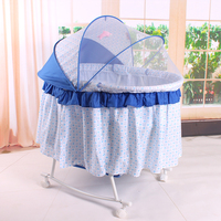 Factory Outlet Baby Rocking Cradle Bed with Mosquito Net, Available Swing Crib of thicken 5mm bed board, Infant Baby Rokcing Bed