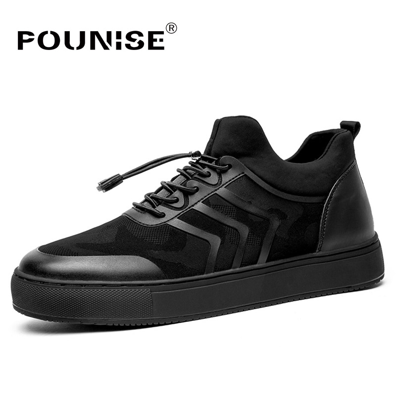 Autumn Winter Men's Shoes Fashion Casual Shoes Genuine Leather Scrub Breathable Men Shoes Sneaker Flats Classic Shoes Black new 2017 men s genuine leather casual shoes korean fashion style breathable male shoes men spring autumn slip on low top loafers