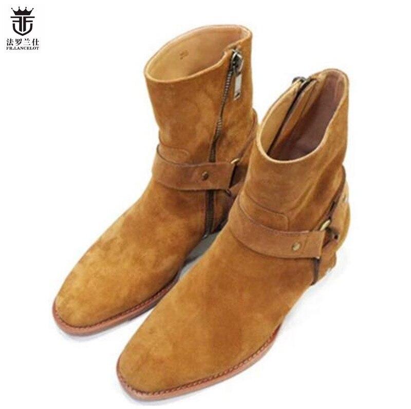 2019 Hot Vendas FR. LANCELOT outono inverno dos homens da Camurça de couro real botas high top moda estilo britânico de moda botas chelsea dos homens