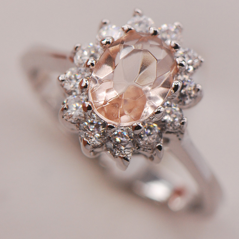 Morganite Women 925 Sterling Silver Ring F701 Size 5 6 7 8 9