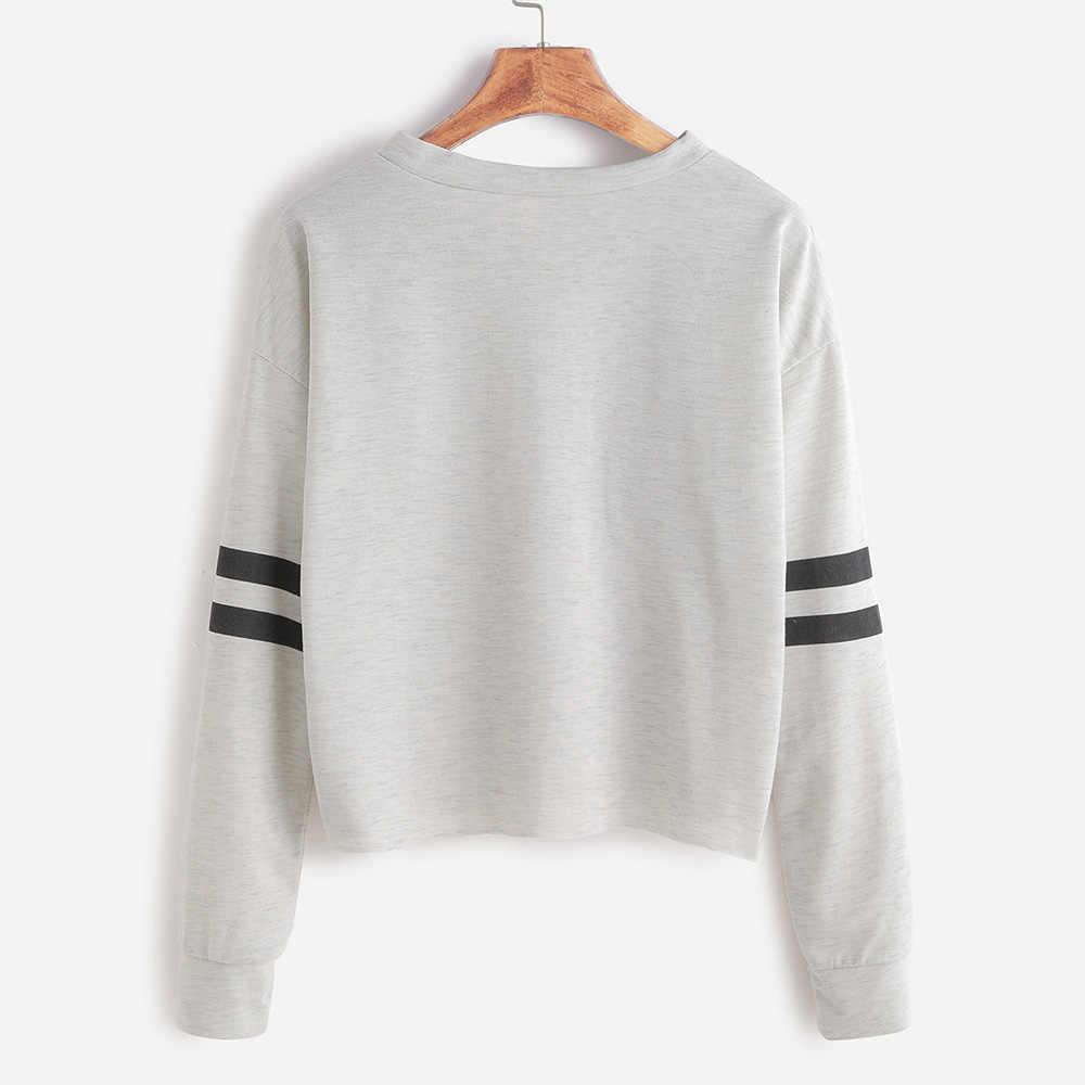 eef1dec2c3d0 ... 2019 Autumn Women Casual Short Hoodie Sweatshirt Loose Stripe Long  Sleeve Pink Clothes Kawaii Preppy Fall ...