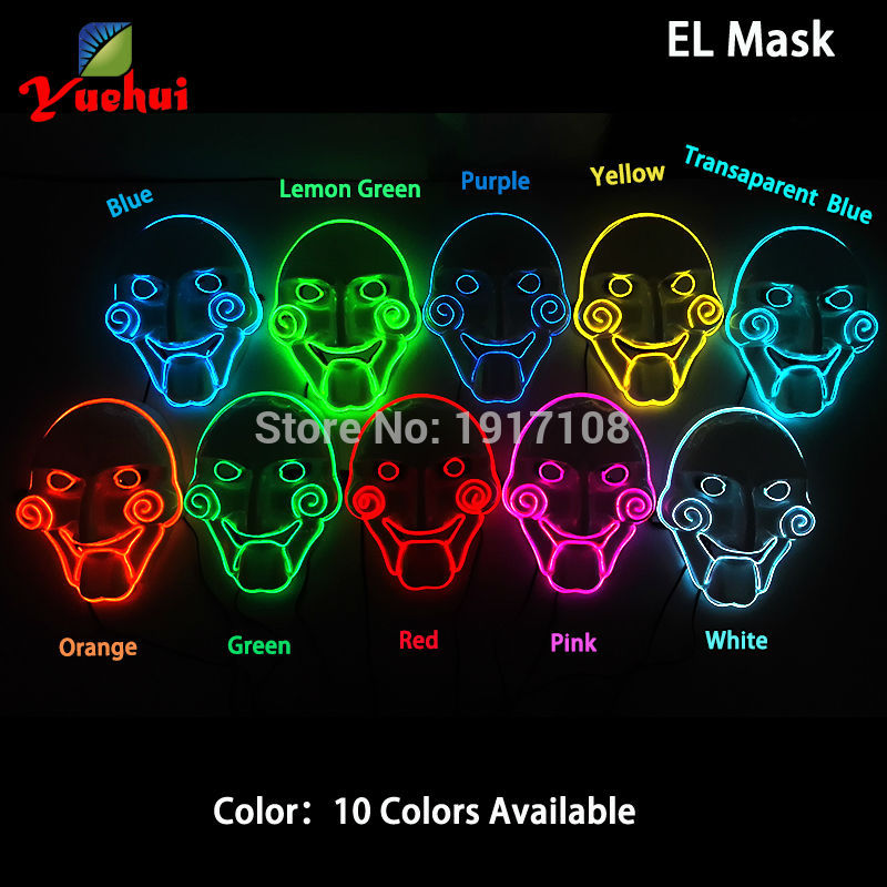 Hot sales Flashing 10 COLOR EL wire Chainsaw Mask Halloween Decor LED Neon Glow tube Party Mask With 3V Driver Used in Christmas