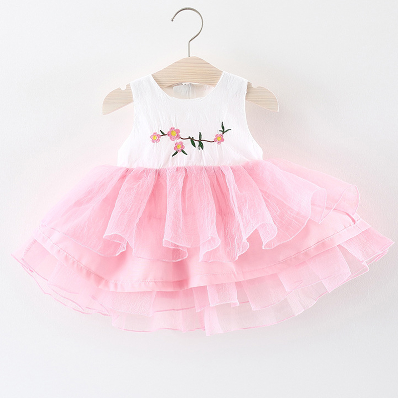 New Summer 2018 High Quality Princess Dress Birthday Party Baby Clothing Girls Sleeveless Embroidery Flower Cake Girls Dress
