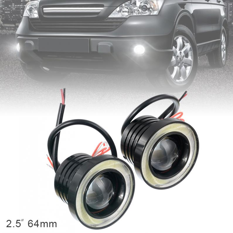 2pcs 2.5/3/3.5 Inch 12V Car COB 1200LM 30W <font><b>Light</b></font> LED Fog Lamp DRL White Angel Eye Driving Signal <font><b>Bulbs</b></font> <font><b>Daytime</b></font> <font><b>Running</b></font> <font><b>Light</b></font> image