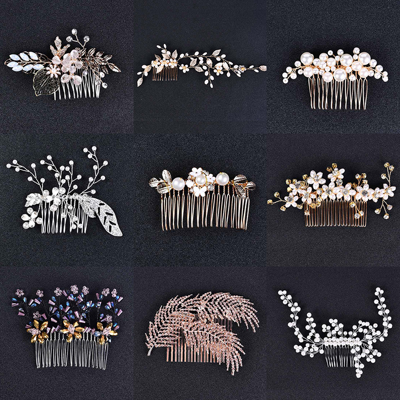 28pcs Women Hair Combs Crystal Shiny Pearl Hair Jewelry Accessories Bridal Wedding Head Decoration Ornament