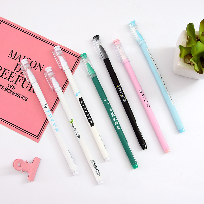 2 Pcs Creative Cute School Text Series Gel Pen Student Simple Styling Gift Writing Supplies School Stationery