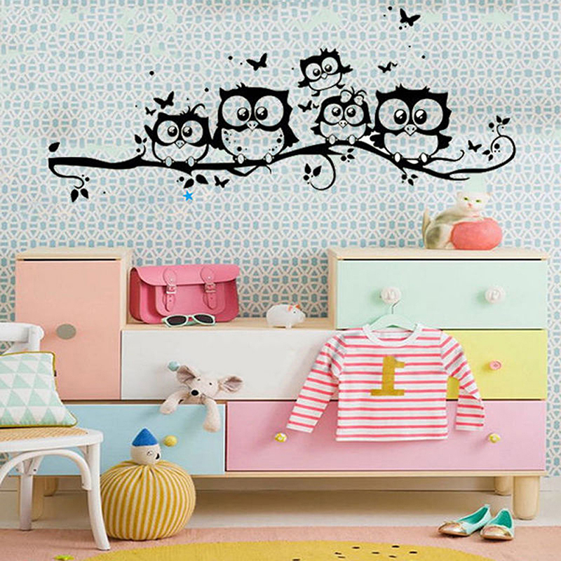 Home Decor DIY Wallpapers Removable Owl Cartoon Wall Decal