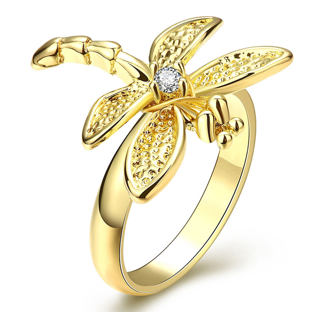 2017 cheap women finger rings gold color dragonfly wedding rings for women cubic zirconia cz vintage - Cheap Womens Wedding Rings