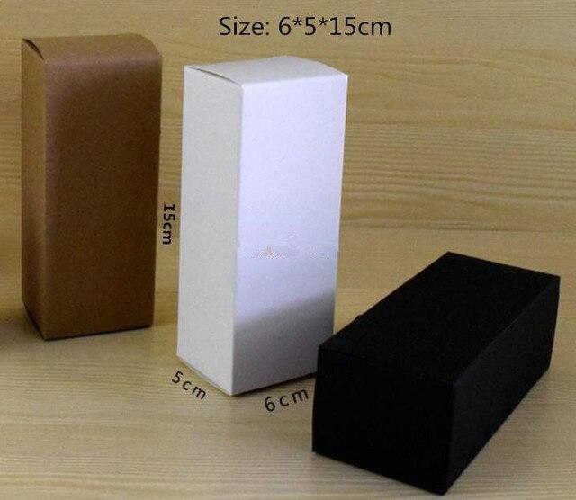 50pcs/lot 6*5*15cm Blank White Black Kraft Paper Gift Box