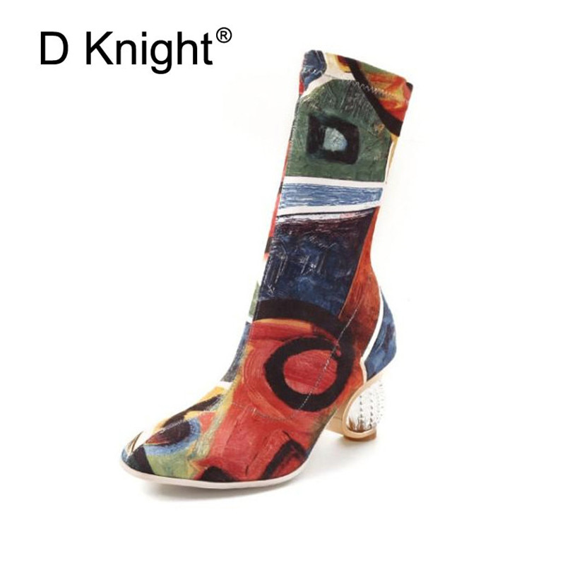 Fashion Graffiti Women Mid-Calf Boots Sexy Pointed Toe Rubber Boots For Women Lady Gingham Strange High Heel Boots Female Shoes