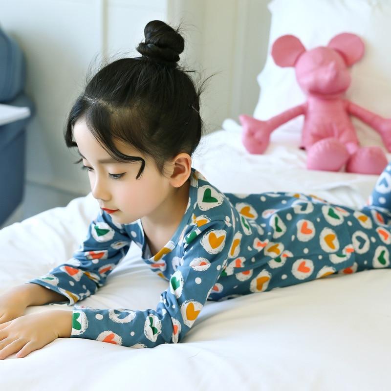 Toddler Girls Pajamas Cotton Sleepwear Set 2 PCS 2018 Spring Fall Little Kids Girls Pajama Set Children Girls Pijamas Nightwear rabbit print pajama set