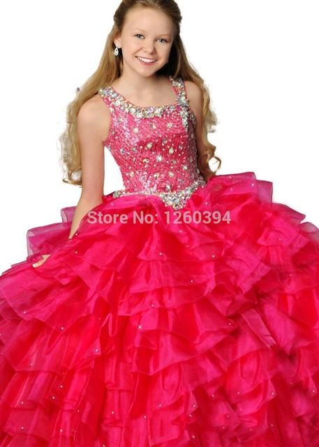 194ce5460 Stunning Glitz Girls Pageant Dresses Crystal Beaded Ruffle White ...