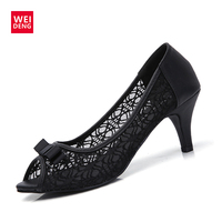 Retro Women Lovely Pump Genuine Leather High Heel Hollow Casual Party Dance Office Lady OL Peep