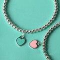 Любовник бусины браслет с голубой розовый зеленый сердца капать надписи титана стальной браслет