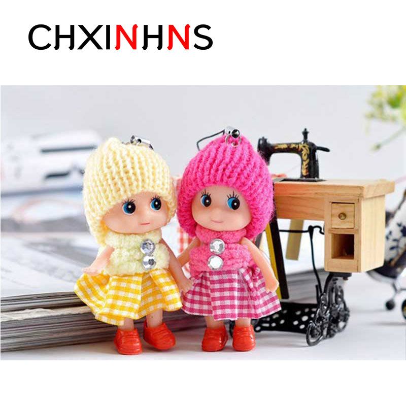 Cutte font b Baby b font Dolls Toy Doll Keychain for Girls Lovely 3cm Soft Interactive